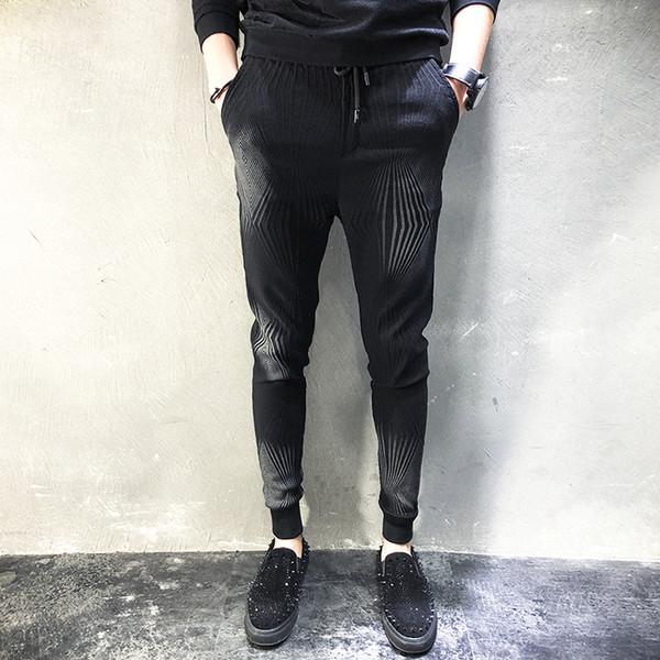 Los hombres elásticos lavados de algodón pantalón casual moda masculina casual pantalones harem pantalones de lápiz slim fit de alta calidad