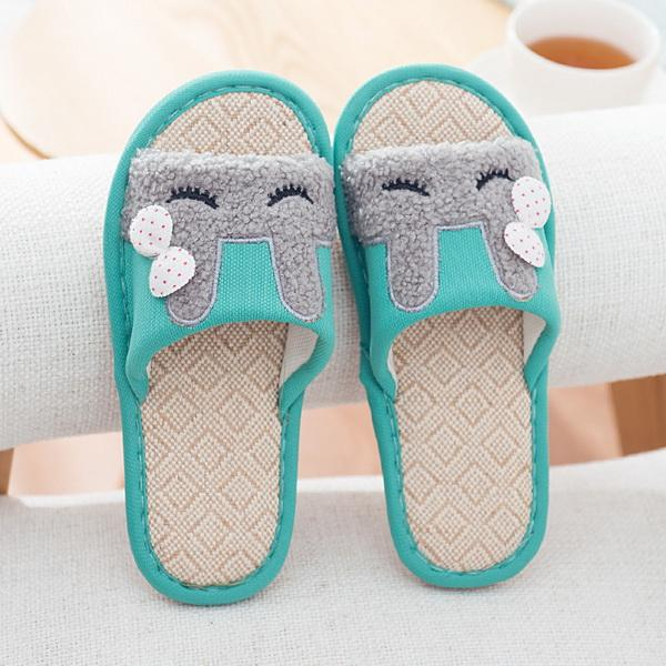 2019 fashion Lovely cartoon flax slippers for couples Indoor skid-proof, wear-resistant, thick-soled cotton and linen slippers in summer