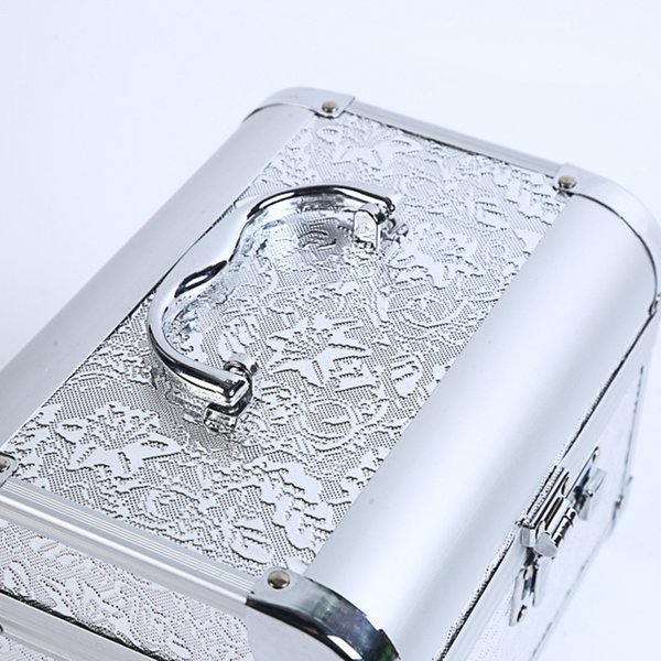 Fashion Cosmetic Case Personality Password Lock Beautiful Box Alloy Makeup Bag Portable White Durable Large Capacity Safety