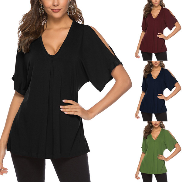 womens summer tops and blouses Casual t shirt femme grande taille Solid Flare Tunic Off-the-shoulder pleated T-shirt top L0416