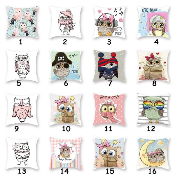 44x44 cm Owl Throw Pillow Case Home Dormitorio Suave Cojín Cuadrado Cubierta de Oficina Sofá de Coche Decorativo Owl Almohada