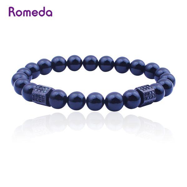 Romeda Bracelets Men Trendy Matte Onyx Jewelry Bracelet High Quality Zircon Bracelets Bangle filament Hand-woven bracelet