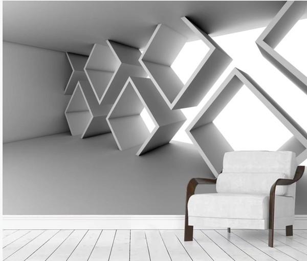 murales del papel pintado 3D espacio ampliado en tres dimensiones de cemento en forma especial a bordo de construir la pared de fondo