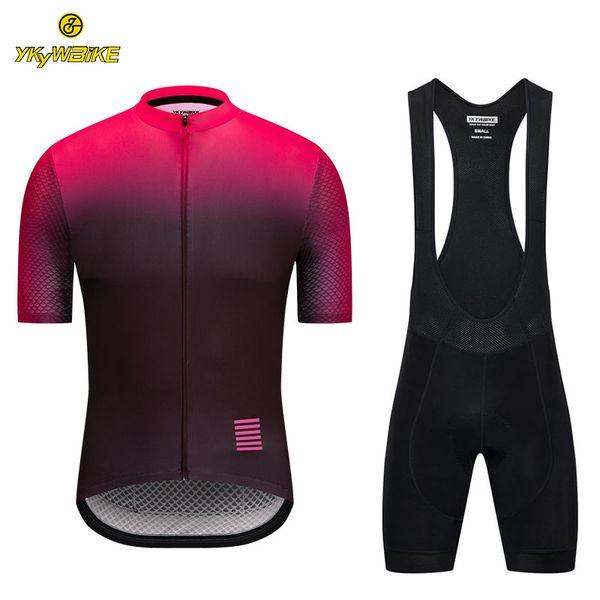 YKYWBIKE 2019 Cycling Jersey Bib Sets Men Short Sleeve MTB Jersey Outdoor Sport Cycling Clothing Bike Clothes Sponge Padded Custom Design