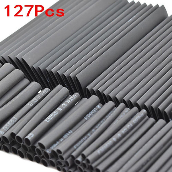 iring Accessories Cable Sleeves 127Pcs Black Weatherproof Heat Shrink Sleeving Tubing Tube Assortment Kit Electrical Connection Electrica...