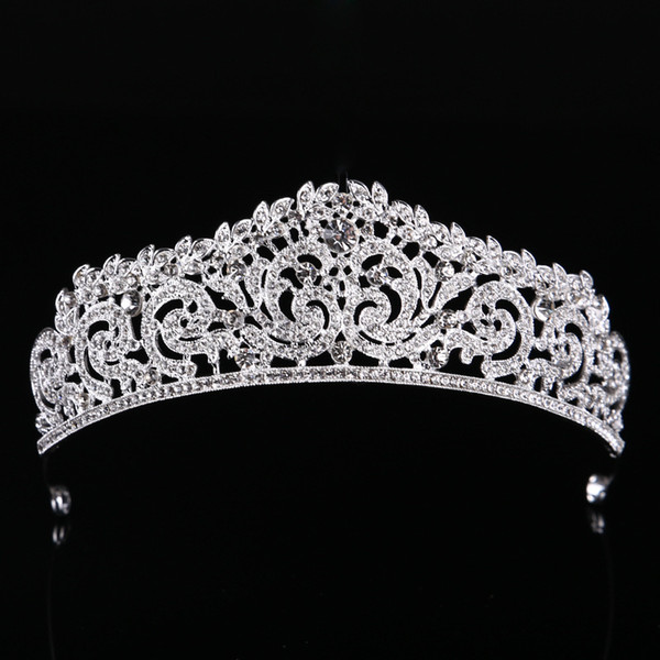 Wedding Crystal Tiara Crown Queen Women Bridal Hair Jewelry Ornaments Bride Accessories Diadem Mariage Headpiece Headband O2236 C18112001