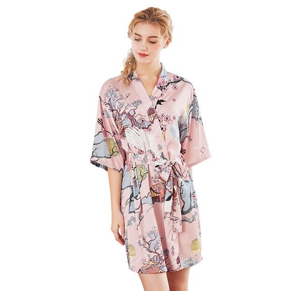 Mulher sexy cetim roupão de banho moda festa impressão Robes fêmeas Emulação de seda Sleepwear meninas roupão de banho atacado