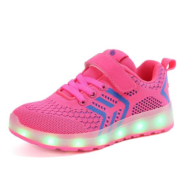 Nefes 2018 Yeni 25-37 USB Şarj Parlayan Sneakers Led Çocuk Aydınlatma Ayakkabı Erkek / Kız Parlak Sneaker PinkMX190919 ışıklı