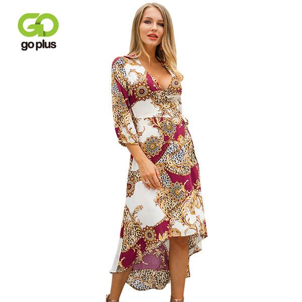 dbed6c94dd774 Wholesale 2019 Spring Boho Print Chiffon Dress Women Sexy Deep V Neck  Sashes Maxi Dress Lady Bow Tie Elegant Party Vestidos Female Summer Dresses  For ...