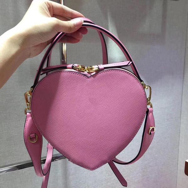 rosa rote und schwarze Farbe süße schöner Stil Herzform Frauen Handtaschen Schulter-echte Leder der hochwertigen Frauen Umhängetaschen