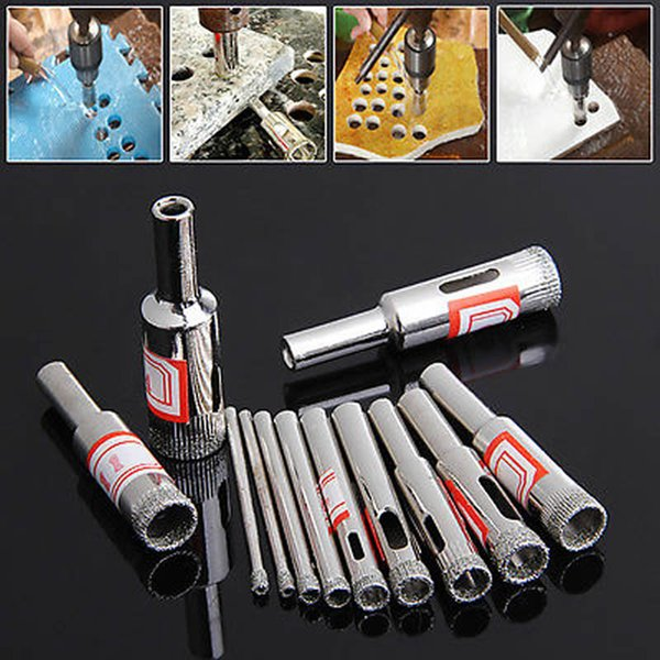 1 Set Hot 11Pcs 3-14mm Diamond Coated Core Saw Hole Drill Tool For Glass Marble Tiles