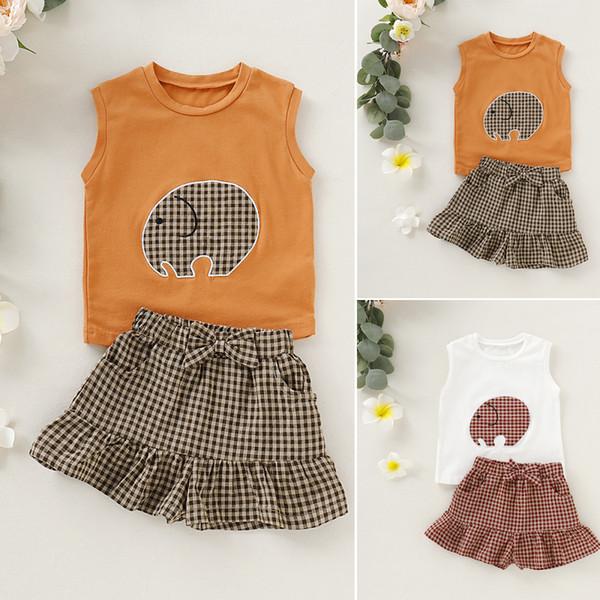 2 ADET Toddler Bebek Kız Yaz Giysileri Kolsuz Tişört Ekose etek Kıyafet Tops