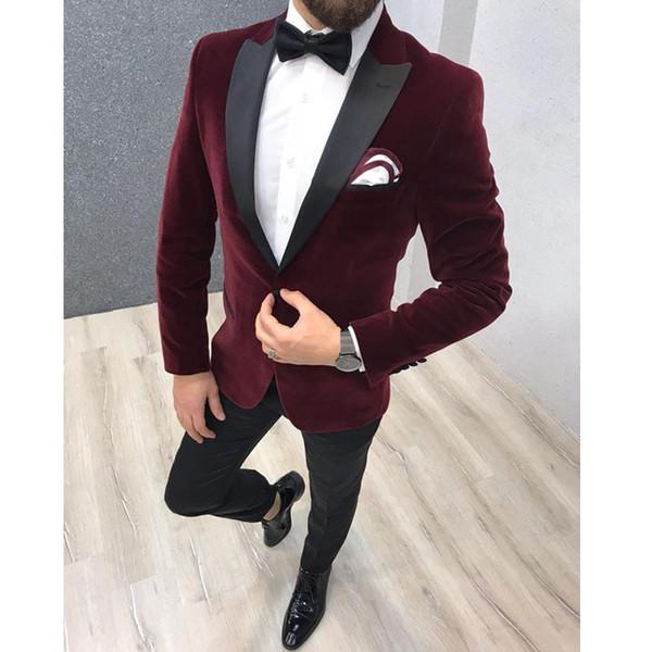 Trajes de novio Slim Fit de color rojo oscuro Trajes para hombre para trajes de banquete de boda 2 piezas de esmoquin de boda Chaqueta de esmoquin blanco + pantalones