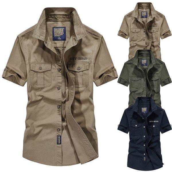 Men shirt Casual Slim Fit Embroidery Pure Color Pocket Short Sleeve shirts mens dress shirts camisas masculina c0603