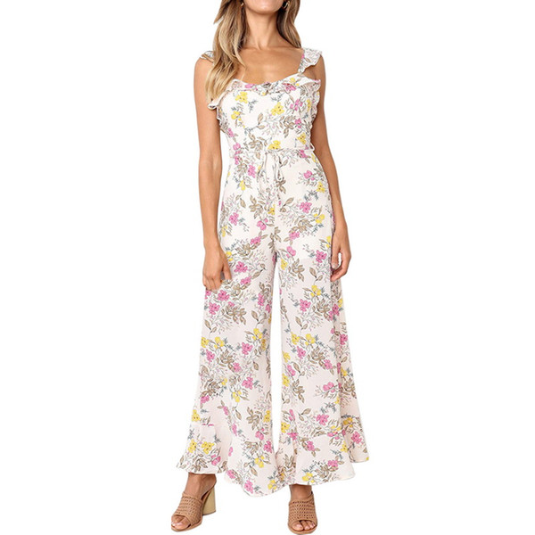 MoneRffi Women Sleeveless Floral Print Jumpsuit Ruffled Strap Backless Sexy Wide Leg Long Pants Plus Size Rompers Femme 2019