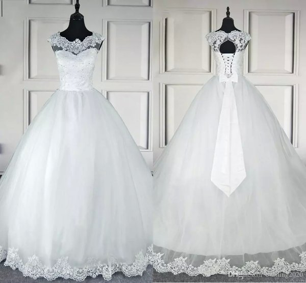 2018 Hot Selling New Vintage A line Wedding Dresses Jewel Sleeveless Applique Lace Up Sweep Train Bridal Gowns