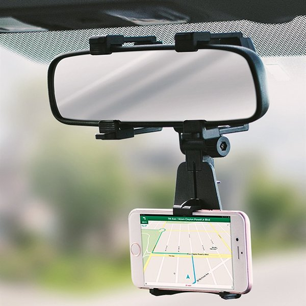 Car Mount Cell Phone Holder Car Rearview Mirror Mount Truck Auto Bracket Holder Cradle for iPhone Samsung GPS/PDA/MP3/MP4 Devices