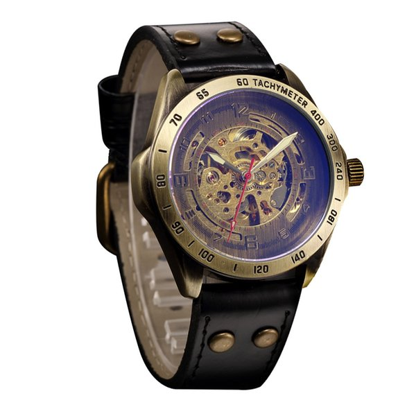 Business Hollow Steampunk Watch Men's Leather Retro watch buckle Automatic Mechanical stainless steel L0522