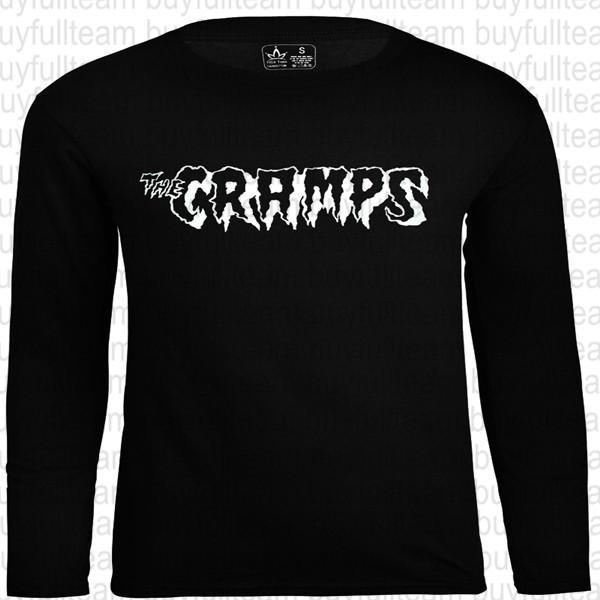 The Cramps gráficos Mens preto longo mangas Tops Moda em torno do pescoço T Tamanho S M L XL 2XL