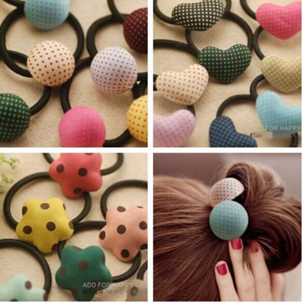 top popular Accessories accessories rubber rope plum buttons children's hair band cartoon hair rope cute rubber band 2021