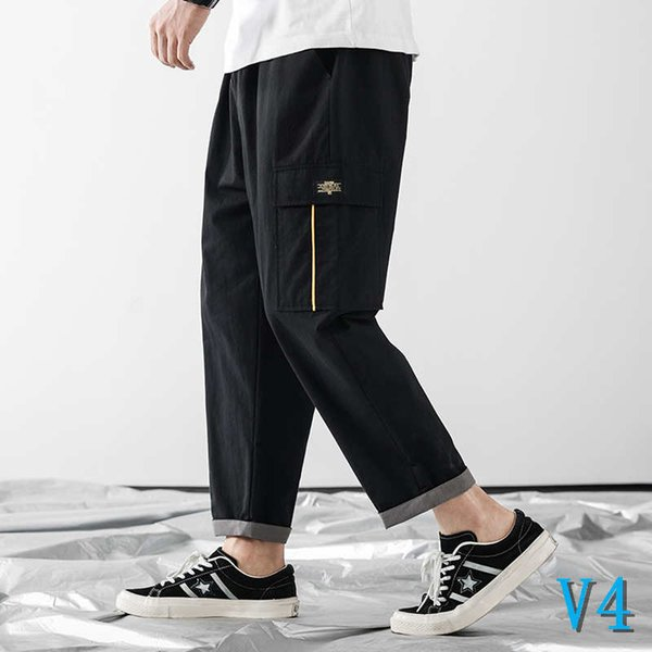 Tide Brand Men's Clothing New Summer Mens Pants with One Packet Designer Nine Men's Pants Straight Leg Hip Top Casual Pants SV4