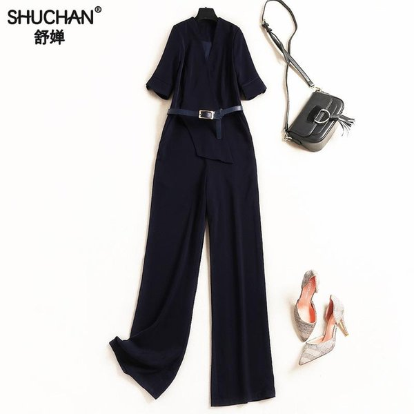 Shuchan 2019 Jumpsuits With Short Sleeve Women Rompers Deep V neck bodysuit Sashes Office Lady fashion high quality 50304