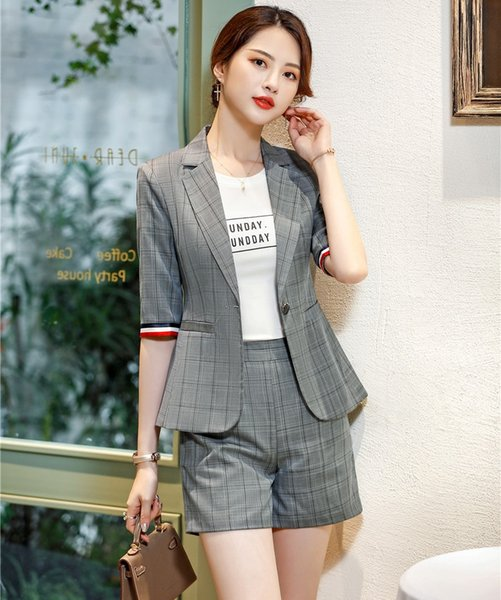 2019 Ladies Grey Blazer Women Business Suits Shorts And Jacket Sets Work  Wear Half Sleeve Office Uniform Styles From Xiayuhe, $73.89
