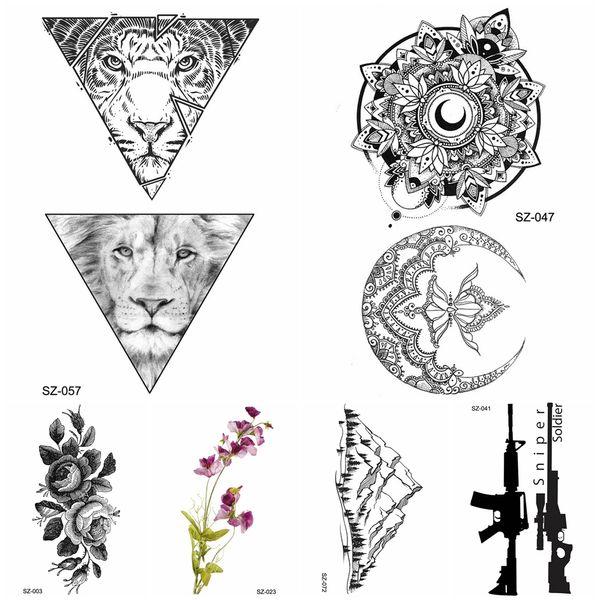 Tatuagens E Seus Significados Preto Tatuagem Temporária Adesivos Homens Frescos Triângulo Tigre Leão Transferência De água Tatoo Mulheres Corpo Braço