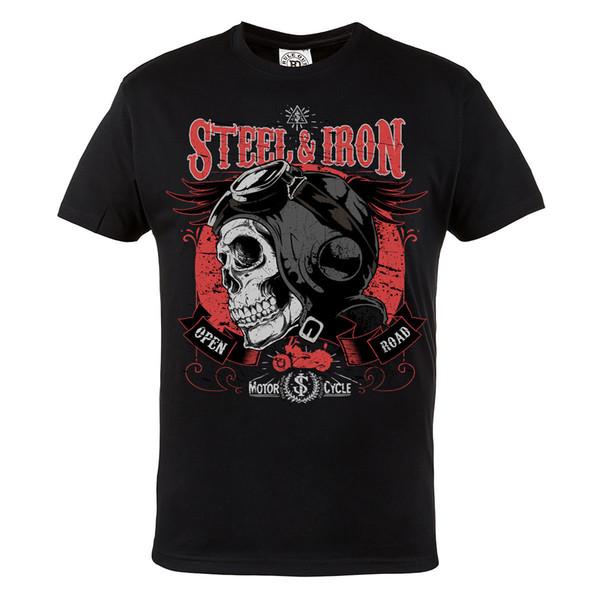 Motorcycle Biker Steel & Iron Skull Motor Mens Black Cotton T-Shirt Top Tee Tees Shirt For Men Best Design Short Sleeve Crewneck Cotton Big