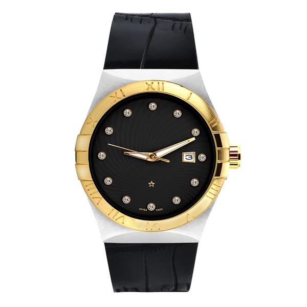 Top Brand Orologio da uomo in pelle donna quadrante oro imitazione ceramica lunetta in acciaio oro orologio da donna al quarzo Dive orologi usa sport orologio