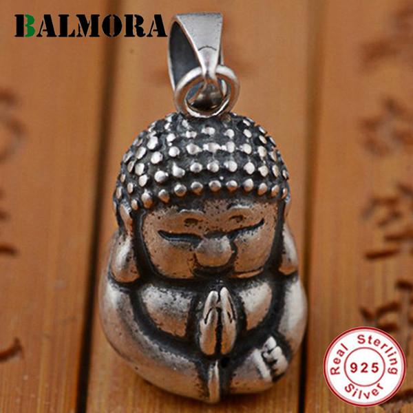 ashion Jóias Pingentes Balmora real 925 Sterling Silver Budismo Buda Pingentes para colar homens casal mulheres Vintage Moda Acce fresco ...