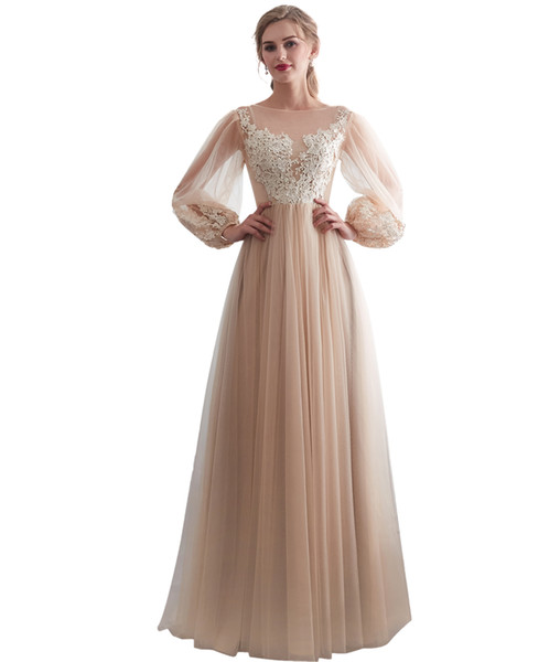 Bohemian Wedding Dress 2019 Champagne A Line Appliques Lace Long Puff Sleeve Beach Bridal Gowns Cheap