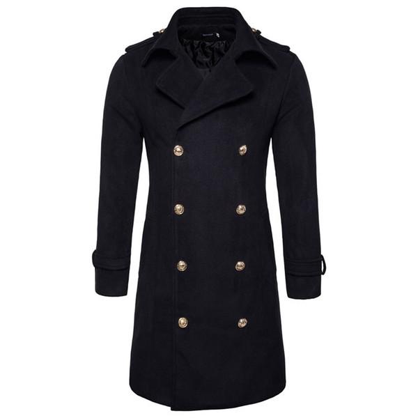 Europe / États-Unis Taille Automne Hiver Double Manteau Hommes Coton Angleterre Style de Slim Fit Veste coupe-vent longue Casual Male caban