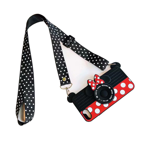 Cartoon Mouse Camera Phone Case Messenger Portable For Iphone Xr 6 7 8 X Plus Xs Max All-Inclusive Soft Silicone Cell Phone Cases