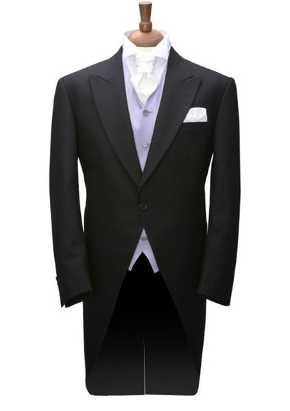 Tailcoat/Morning Style Groom Tuxedos Groomsmen Peak Lapel Best Man Suit Wedding/Men Suits Bridegroom ( Jacket+Pants+Vest+Tie ) A553