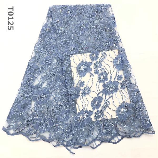 Nuevo diseño de tul africano tela de encaje con lentejuelas bordado de alta calidad Francés neto de encaje para el vestido de boda