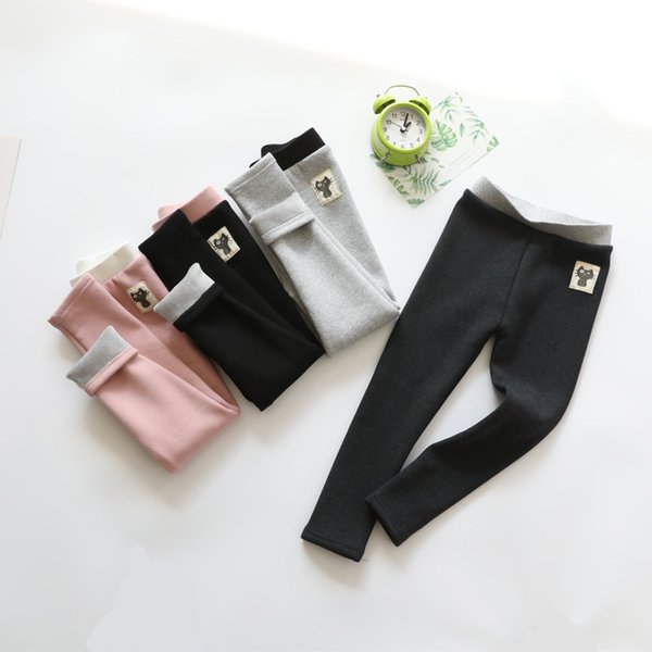 Enfant Pantalons bébé Noir Gris Coton Couleurs Chaudes Mignon 3-10T Vêtements confortables Leggings Stretchy filles dans Baby