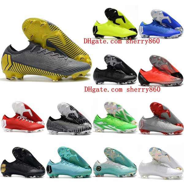 2019 top quality mens soccer shoes Mercurial XII CR7 Elite FG soccer cleats outdoor football boots Mercurial Superfly VI 360 Elite FG