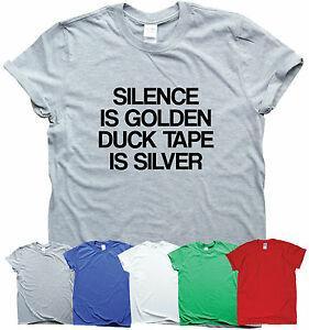 O SILÊNCIO É DOURADO DUNO A FITA É slogan superior sarcástico do humor dos t-shirt engraçados da PRATA