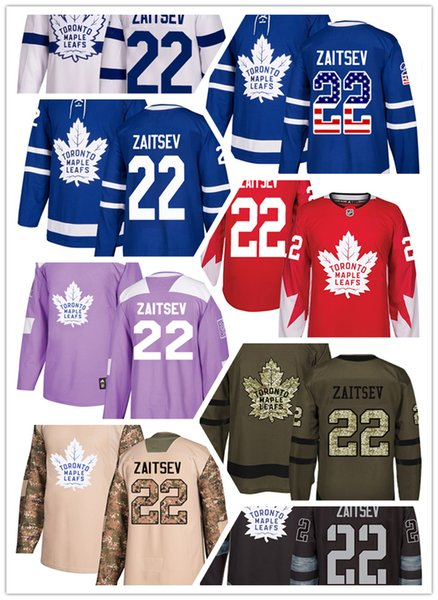 Toronto Maple Leafs jerseys #22 Nikita Zaitsev jersey ice hockey men women blue white red Authentic winter classic Stiched gears Jersey