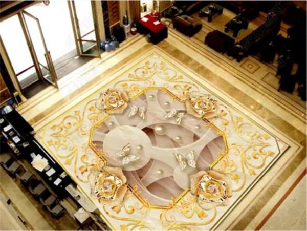 Özel Duvar Kağıdı Altın Çiçek Takı Klasik Zenith Duvar 3D Zemin Duvar