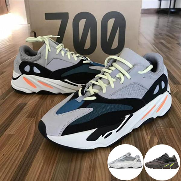 2019 Com Box Kanye West Corredor Onda Impulsiona 700 V2 Inércia Estática Malva Sólida Cinza Run Sapatos Casuais Sapatos Masculinos Das Mulheres Tênis Das Mulheres Dos Esportes