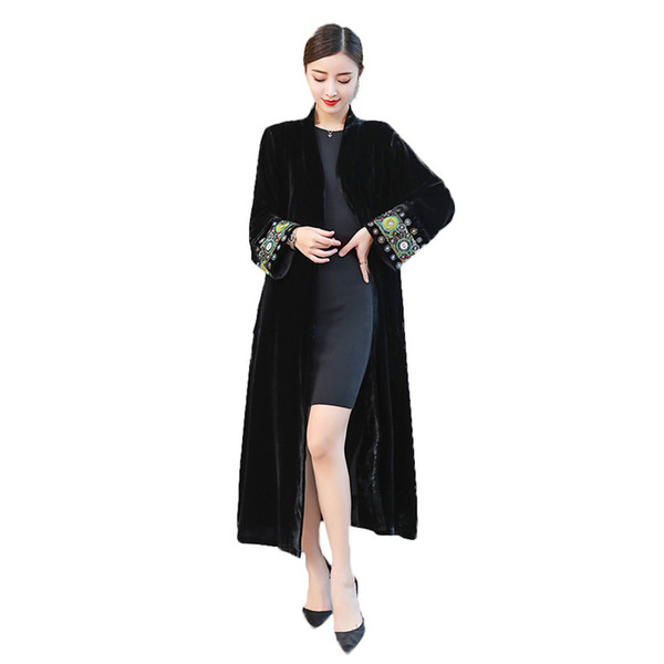 2019 elegant Embroidered Cardigan Large Size Windbreaker Overcoat Women Spring Autumn black Velvet Long Trench Coats X603