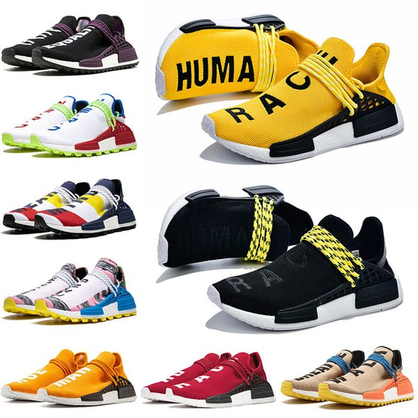 2020 PW Human Race Hu Tennis Shoes Pharrell Williams Yellow Mens Running Shoes Tie Dye Solar Pack Triples Black White Jogging Womens Sneakers From
