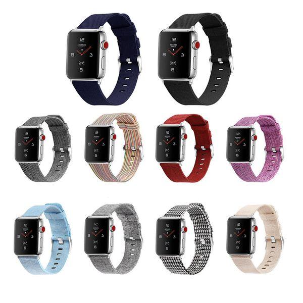 Leinwand-Smart-Straps Uhrenarmband Für Iwatch 1 2 3 4 38 / 40mm 42 / 44mm Uhrenarmbänder DHL