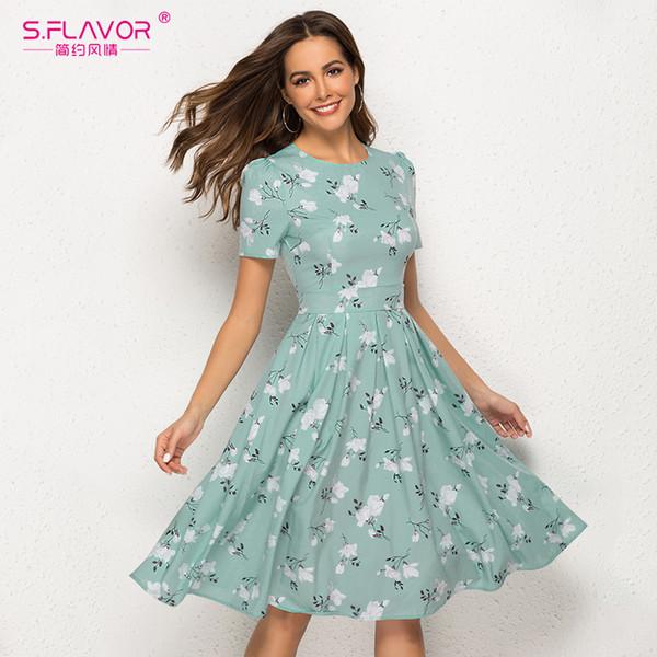 S.flavor Цветочные Печатный Платье Новые Моды для Женщин A-Line Бальные Платья С Коротким Рукавом Лето Длиной До Колен Vestidos Street Wear Q190511