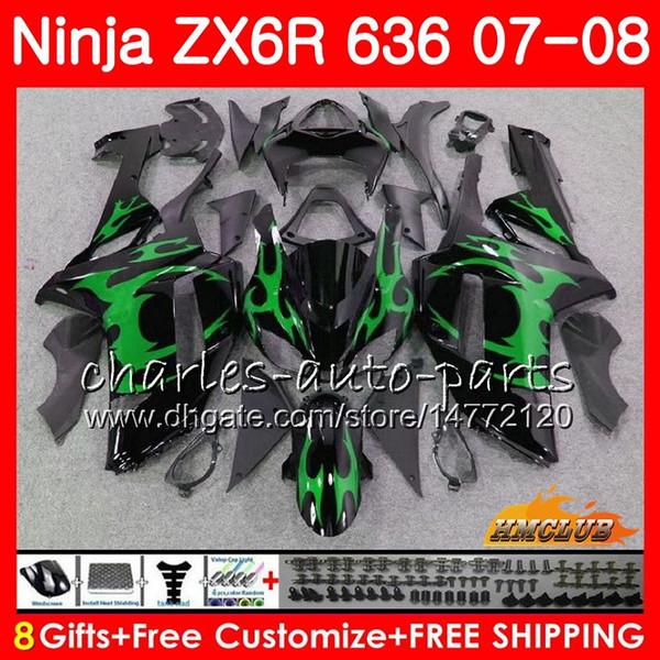 Kit For KAWASAKI green flames NINJA ZX600 ZX636 ZX 6 R 6R 07 08 34NO.44 ZX 636 600 CC 600CC ZX-6R ZX-636 ZX6R 07 08 2007 2008 ABS Fairing