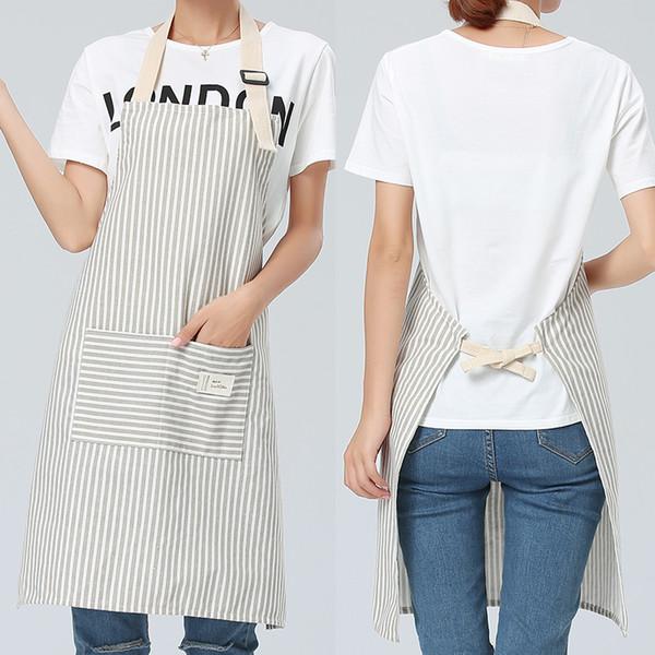 SINSNAN Brief Adjustable Cotton Linen Stripe Kitchen Apron For Women Chef Apron Baking Accessories Commercial Restaurant Bib