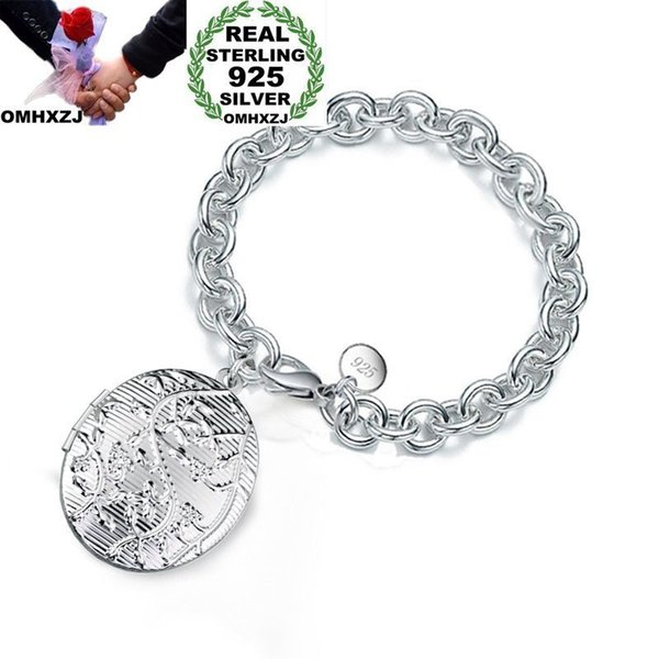 OMHXZJ Wholesale Personality Fashion Woman Girl Gift Silver Photo Round Box Charm Thick Chain 925 Sterling Silver Bracelet BR68