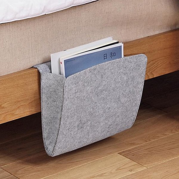 for Organizing Tablet Magazine Cellphone Bed Storage Pockets Bedside Felt Bed Storage Organizer Bag with 2 Small Pockets